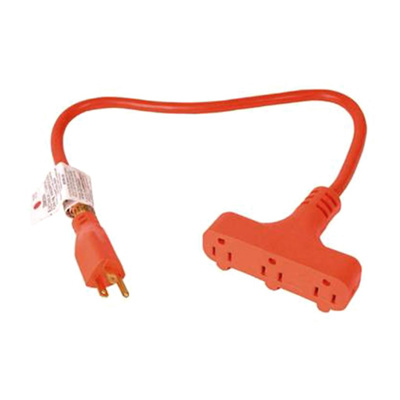 US Wire and Cable 2ft Elec 3-Outlet Powr Block 15 amp, Wind-lock